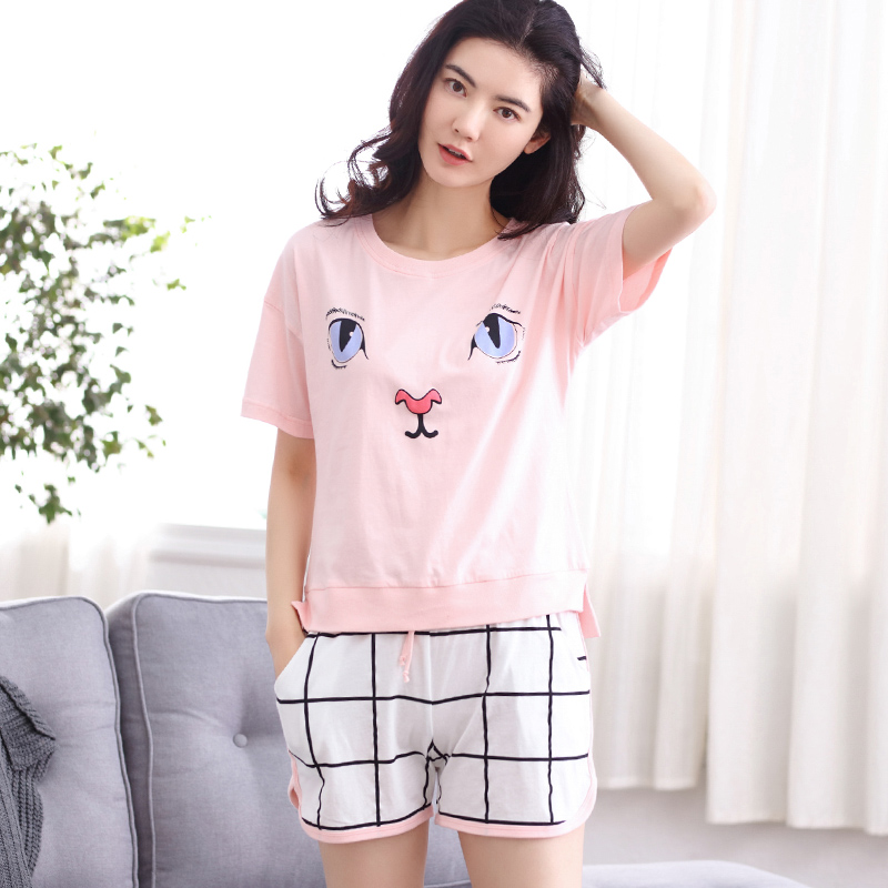 Pink Cute Cat Face Print T-Shirt Suit Summer Home Pajamas Mg601