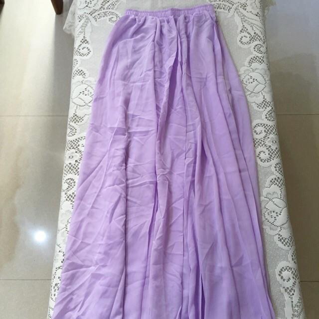 d3238b60af1 Romantic Lavender Chiffon Maxi Skirt. Feminine Soft Light Purple ...