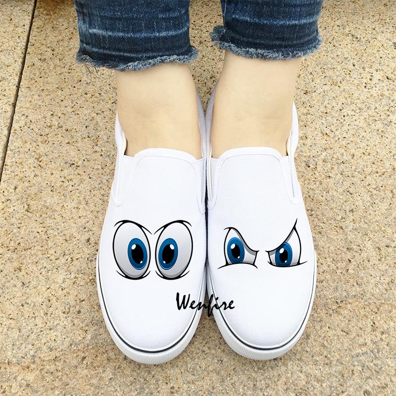 Design Shoes Cartoon Eyes Pattern Slip