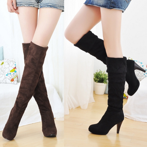 Womens Shoes Over The Knee Thigh Stretchy High Heels Boot Four Size Black Brown Sexy