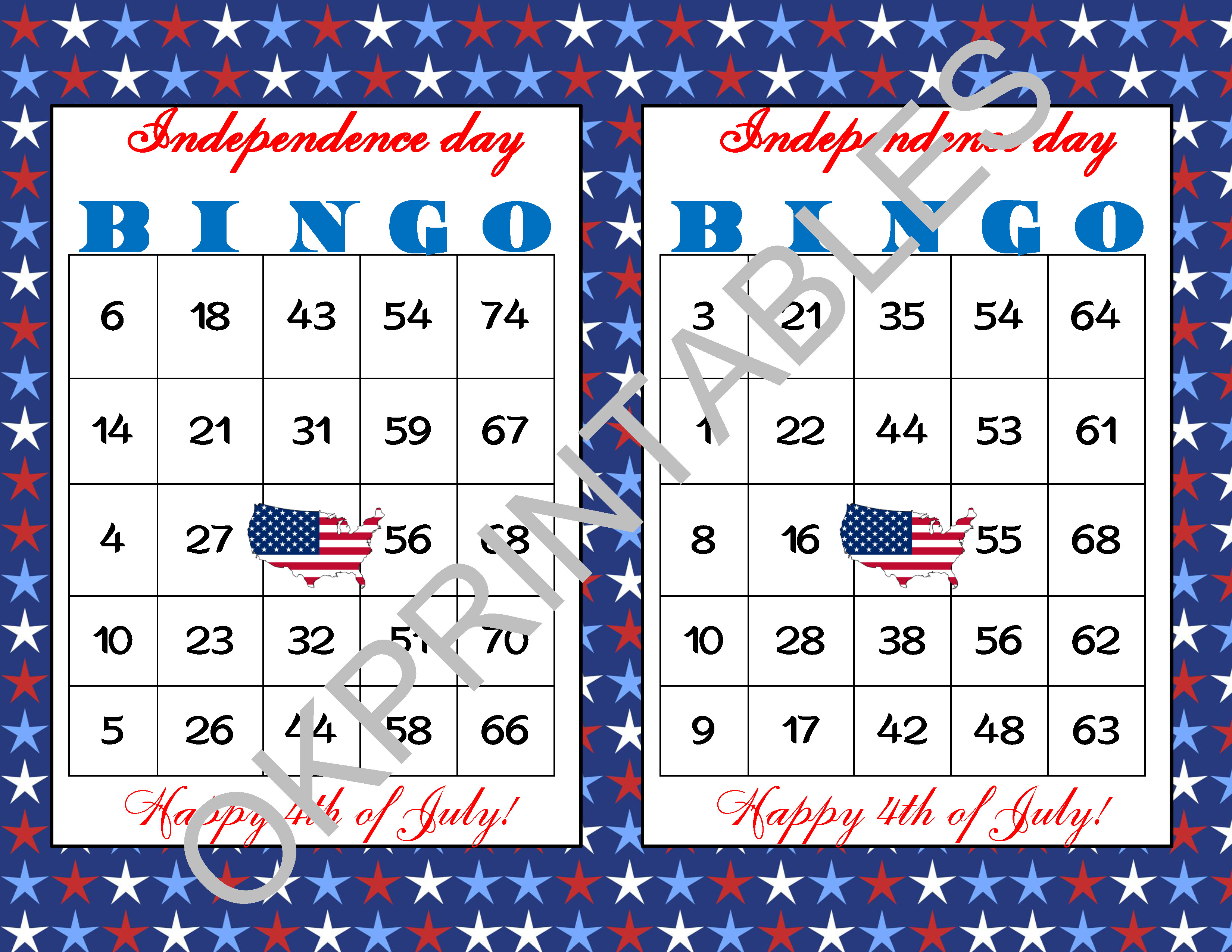 60 Happy 4th Of July Bingo Cards Printable Independence Day Game Patriotic Bingo Game
