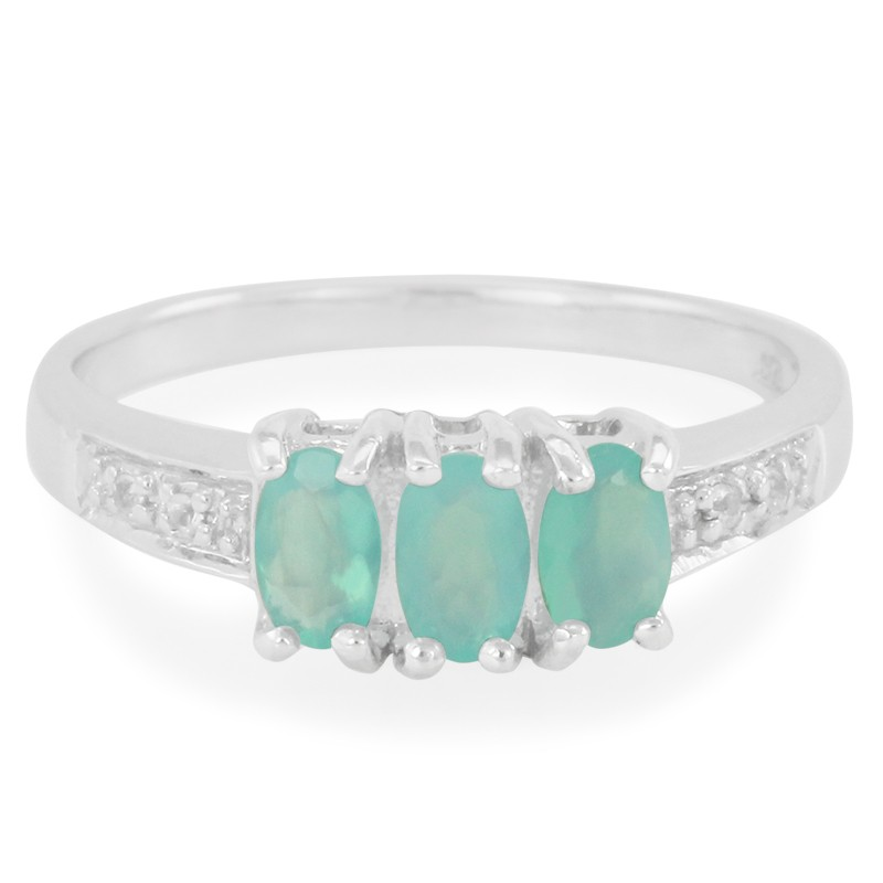 3 Stone Paraiba Opal Sterling Silver Ring Size 7