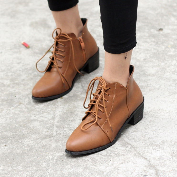 Stylish Suede Chunky Heel Black Ankle Boots