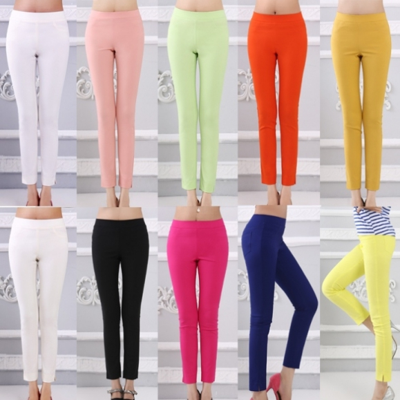 Womens Casual Pencil Pants Slim Long Trousers Finejo