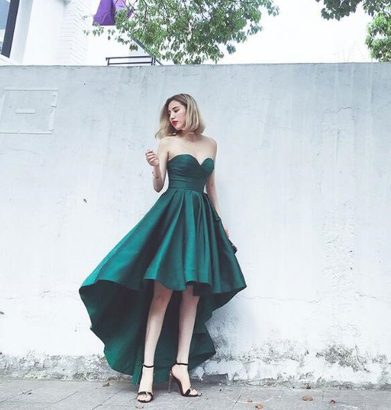 886ed726110 Dark Green Hi Low Sweetheart Prom Homecoming Dresses for Junior ...