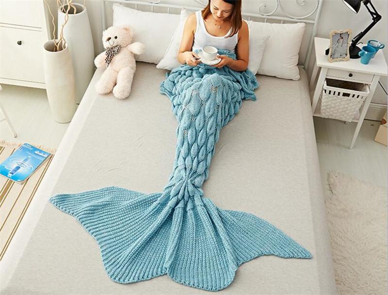 Stylish Handmade Multicolor Knitted Tail BlanketMermaid Blanket