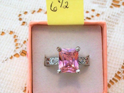 New .925 Sterling Silver With Pink Topaz Designer Stone Ring