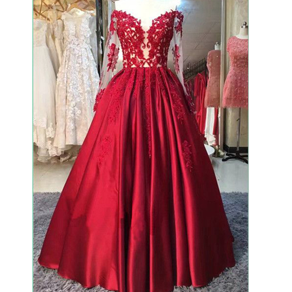 Long Sleeves Red Lace Appliques Prom Dresses-lace Ball Gown Evening Dress 36218