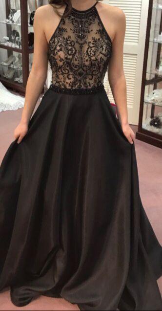Image of 2017 Elegant Crystal Prom Dresses,Beaded Prom Dresses,Black Prom Dresses,Long Prom Dresses,Evening Dresses,Party Dresses