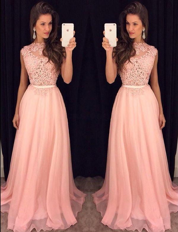 Image of 2017 prom dress, long pink chiffon prom dress, formal dress