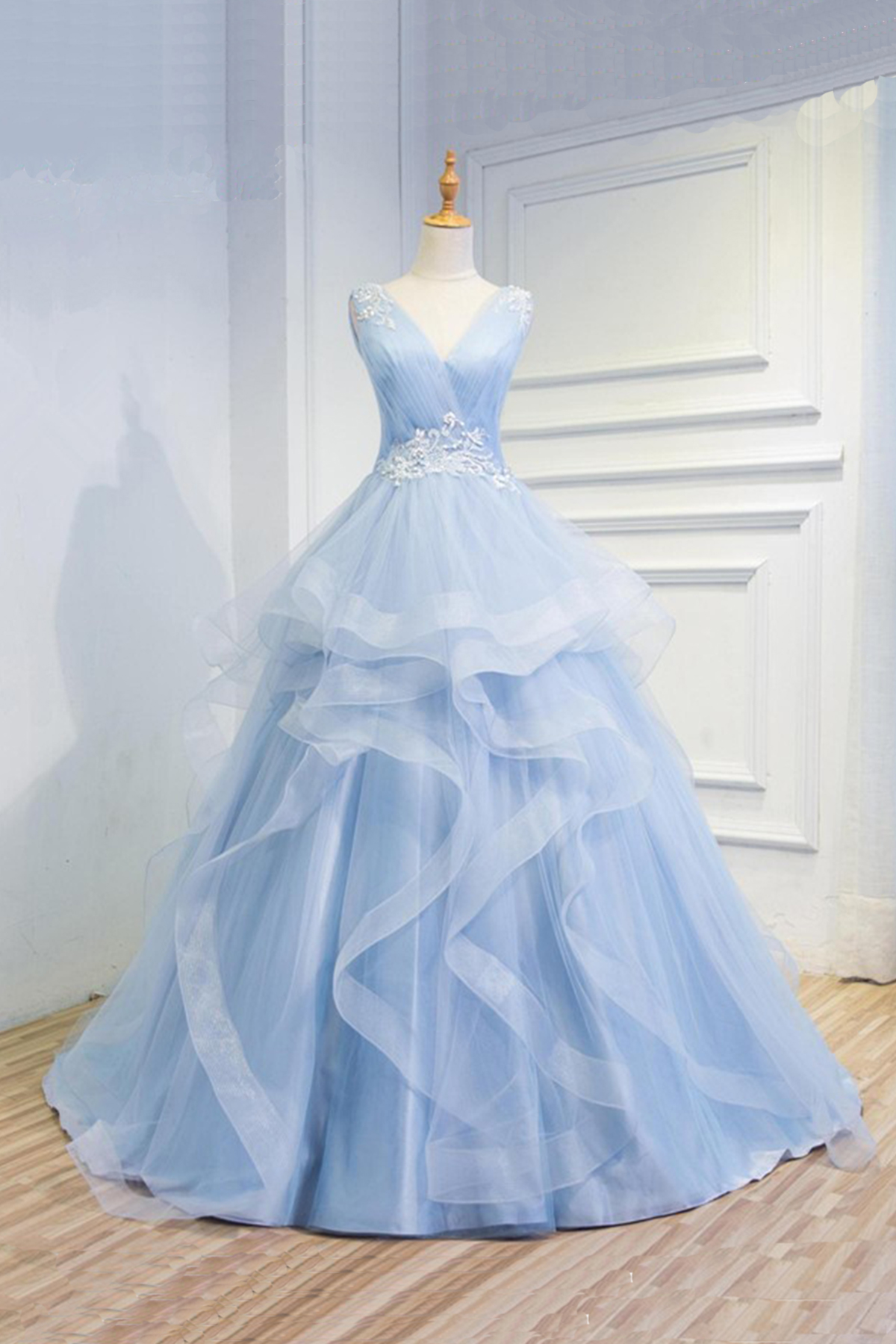 New design baby blue organza long V neck halter formal prom dress ...