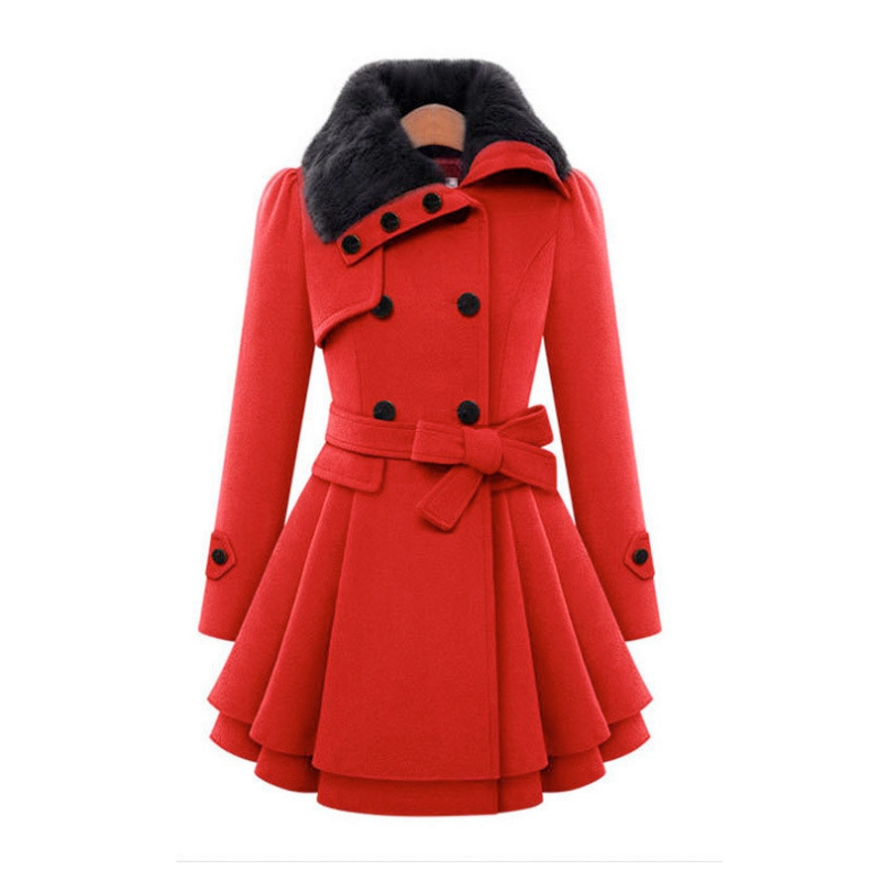 Womens Clothing Of Cultivate Ones Morality Long Fur Coat Double-breasted With Thick Coat With Belt