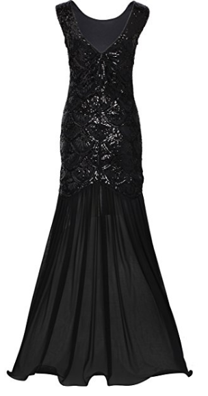 Womens 1920s Long Dress Scale Beaded Sequin Maxi Prom Evening Dress