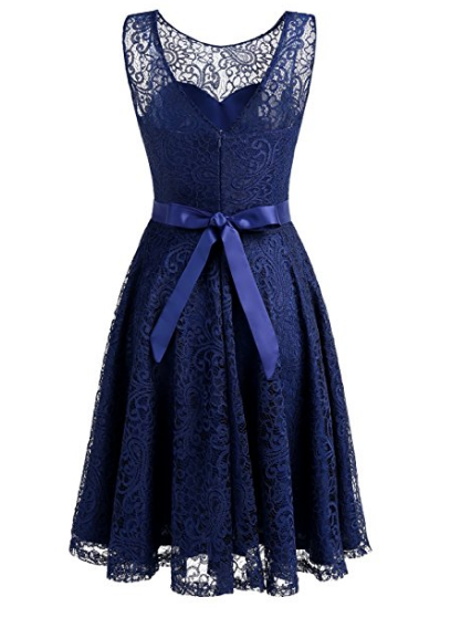 Womens Lace Fit And Flare Cocktail Party Dress A-line Prom Dress With Belt