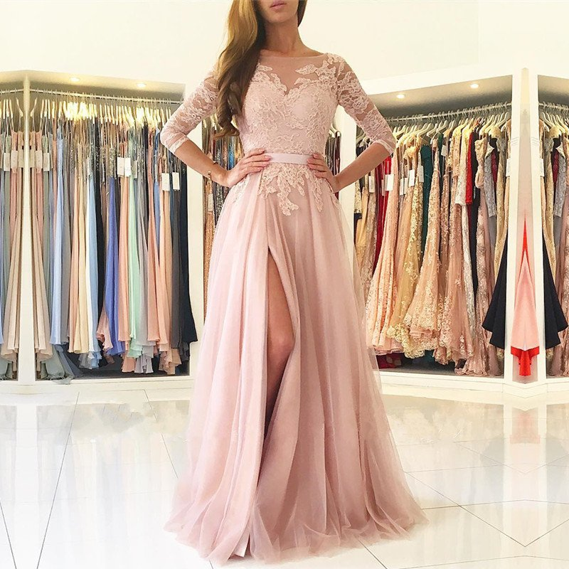 2017 Sleeves Lace Appliques Tulle Women Formal Gowns With Slit Long Prom Dresses Robe De Soiree Opening Back Dusty Pink Evening Dress