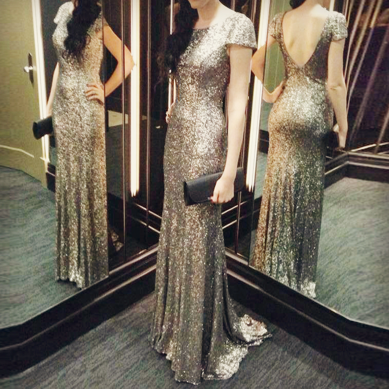 Sexy Cap Sleeve Mermaid Gold Sequin Prom Gown-sexy Mermaid Long Evening Dress-sequin Bridesmaid Dress