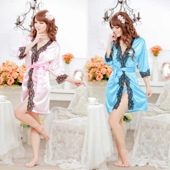 Womens Sexy Lingerie Lace Robe Pajamas Nightgown Nightwear+ G-string