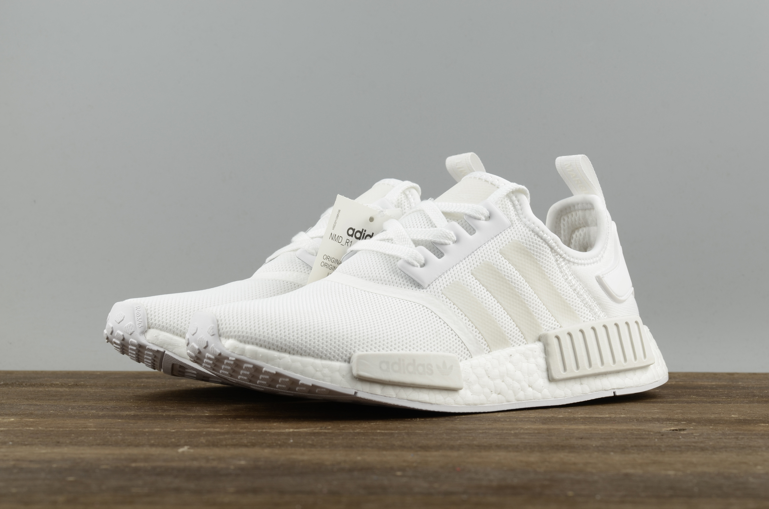 13d9a7005d0 Adidas NMD R1 Boost All white runner shoes on Storenvy