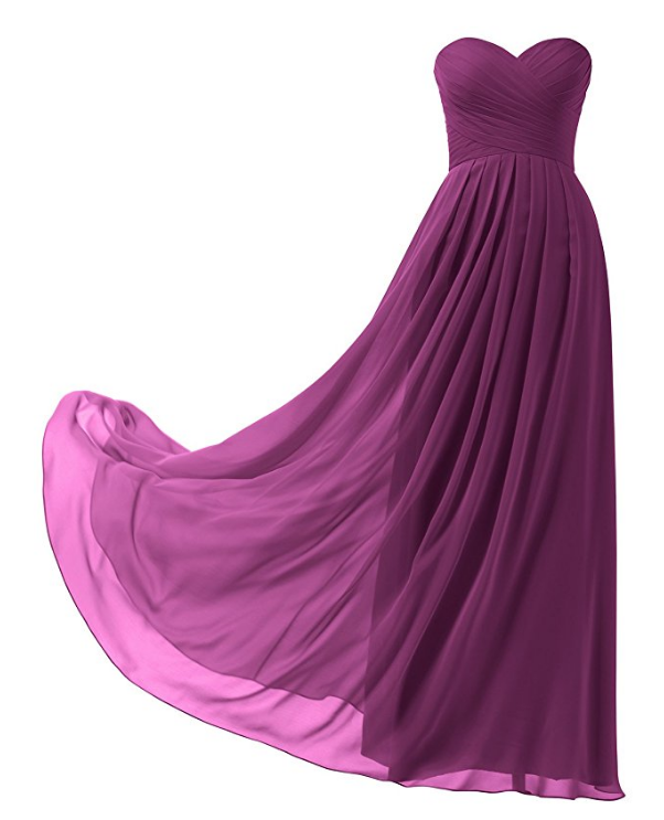 A-line Chiffon Bridesmaid Dress Strapless Long Prom Evening Gown