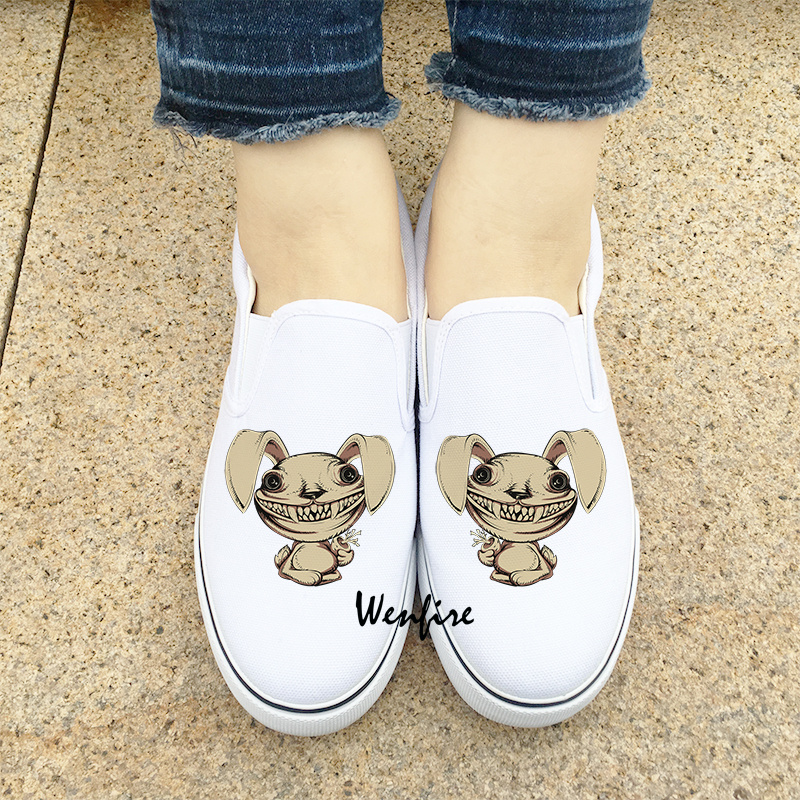 Wenfire Slip On Flats Shoes Women Men Canvas Shoes White Sneakers Skateboarding Shoes Original Design Zombie Rabbit