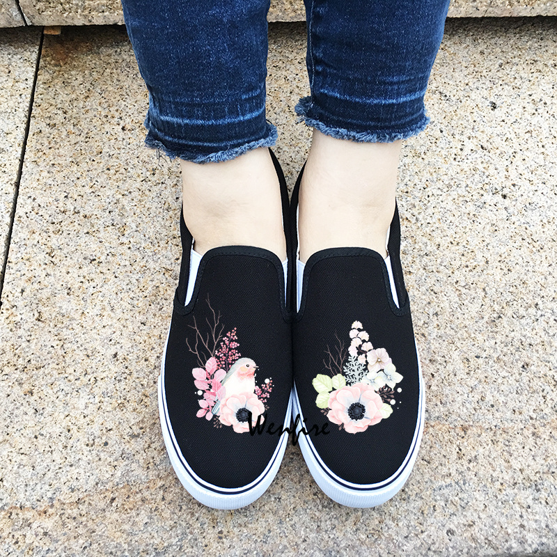 Wenfire Women Men Canvas Shoes Black Sneakers Skateboarding Shoes Bird Floral Flowers Original Design Slip On Flats Shoes