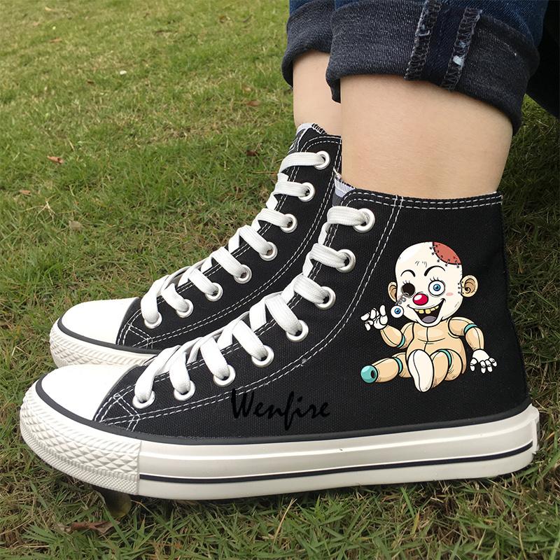 a9bf6260d2e4 Wenfire Unisex Casual Shoes Black High Top Canvas Sneakers Women Men ...