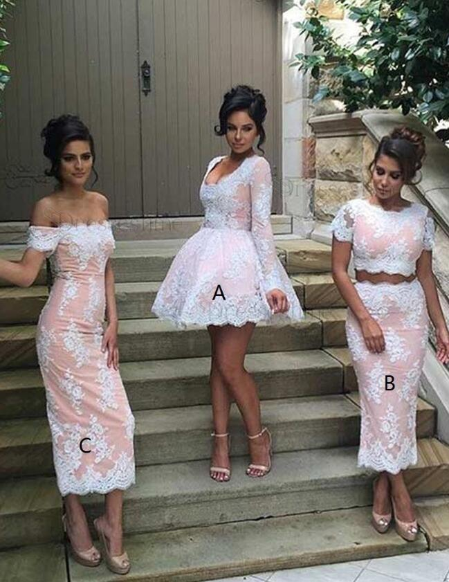 Sweet Ball Gown Short Pink Lace Bridesmaid Dress Scoop Long Sleeveless Pink Lace Evening Dress