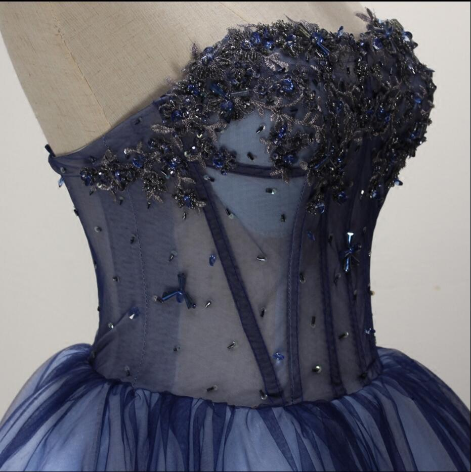 5b9a3512b16 Navy Blue See Through Homecoming Prom Dresses