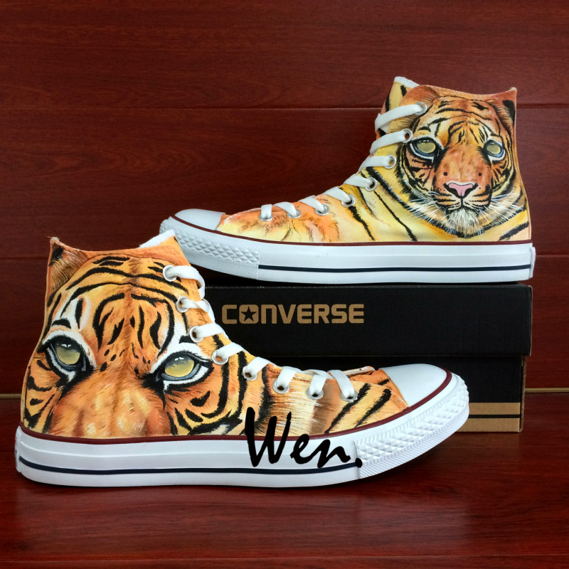 8878d0ae0134 Tiger stripe Original Design Sneakers Hand Painted Shoes Men Women ...
