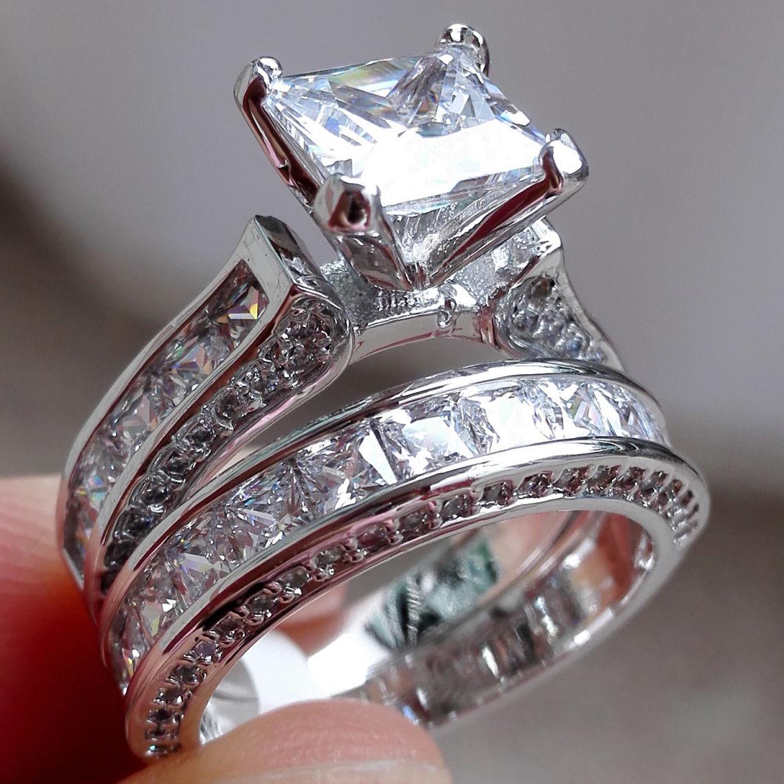 Sterling Silver Princess Cz Wedding Set