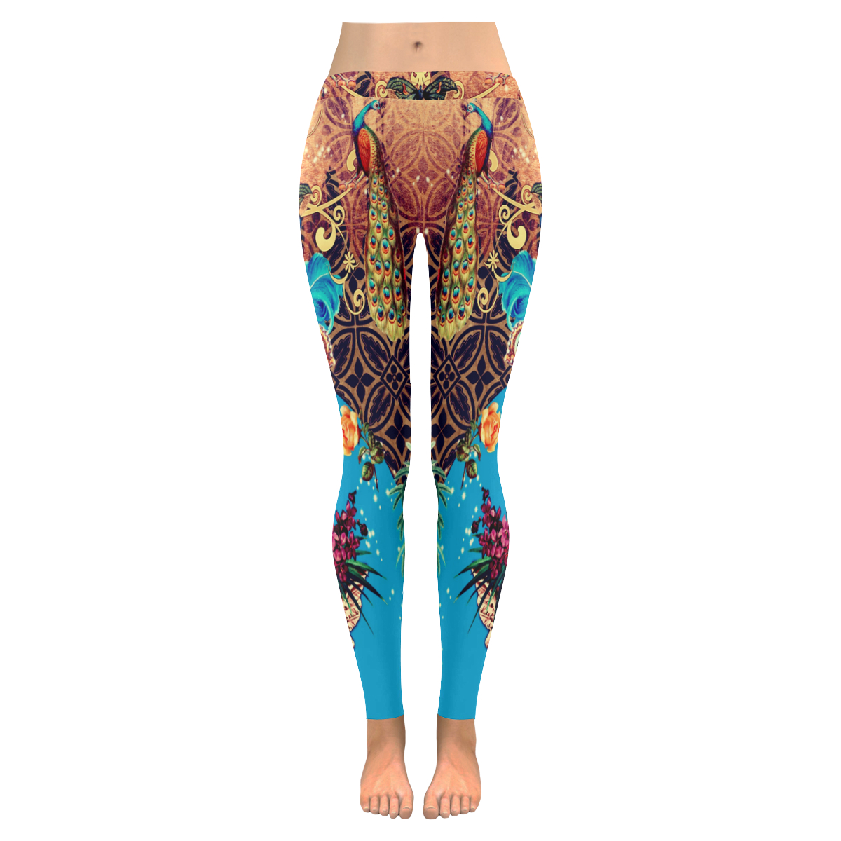 Funky Vintage Skull With CrownFeathers & Peacocks Womens Low Rise Leggings