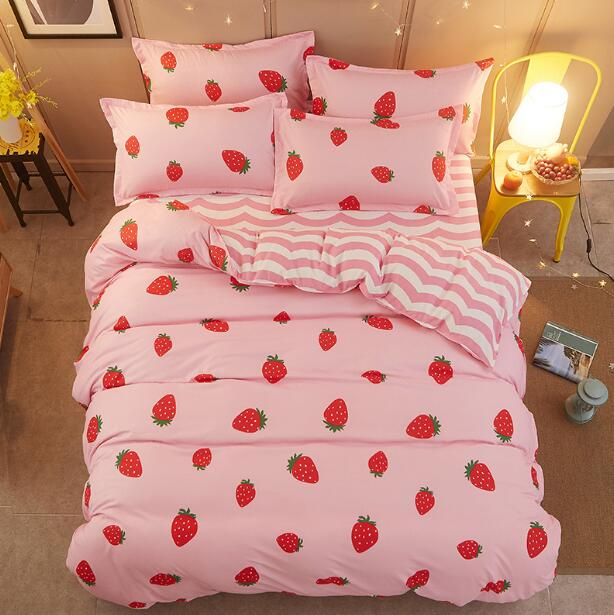 Pink Strawberry Prints Bed Sheet Set-4 Pieces