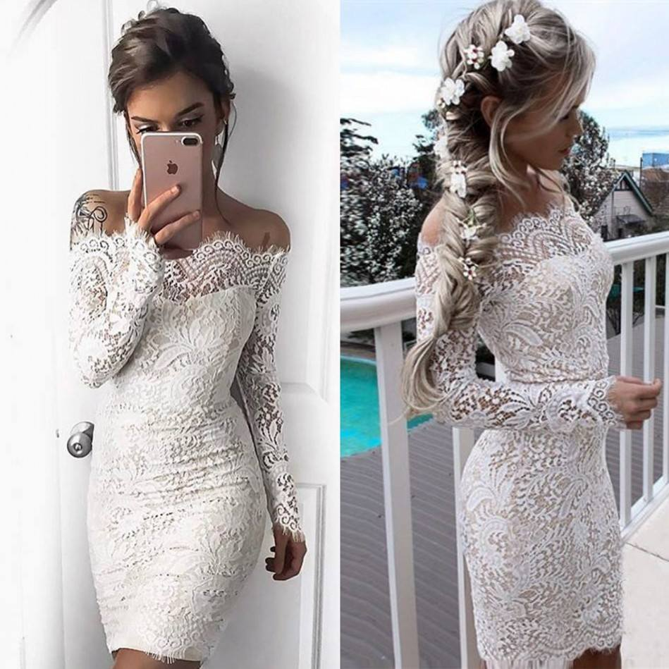 d8b4b5044b9a White Lace Sheath Homecoming Dresses Off-the-Shoulder Long Sleeves ...