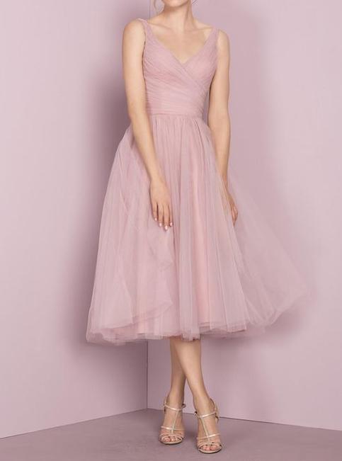 Deep Blush Tulle Prom Dress Tea Length V Neckline Evening Dress Tea Length Tulle Bridesmaid
