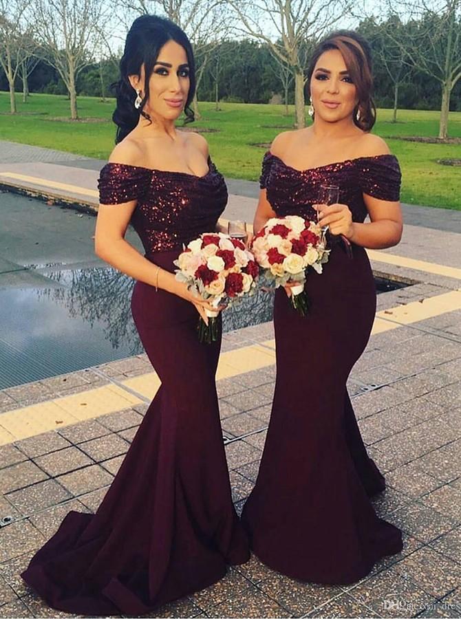 67674a77ec6ea Mermaid Off-the-Shoulder Sequins Purple Long Evening Bridesmaid Dresses 050