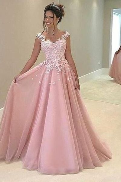 pink tulle lace applique long evening dress,ball gown dresses on ...