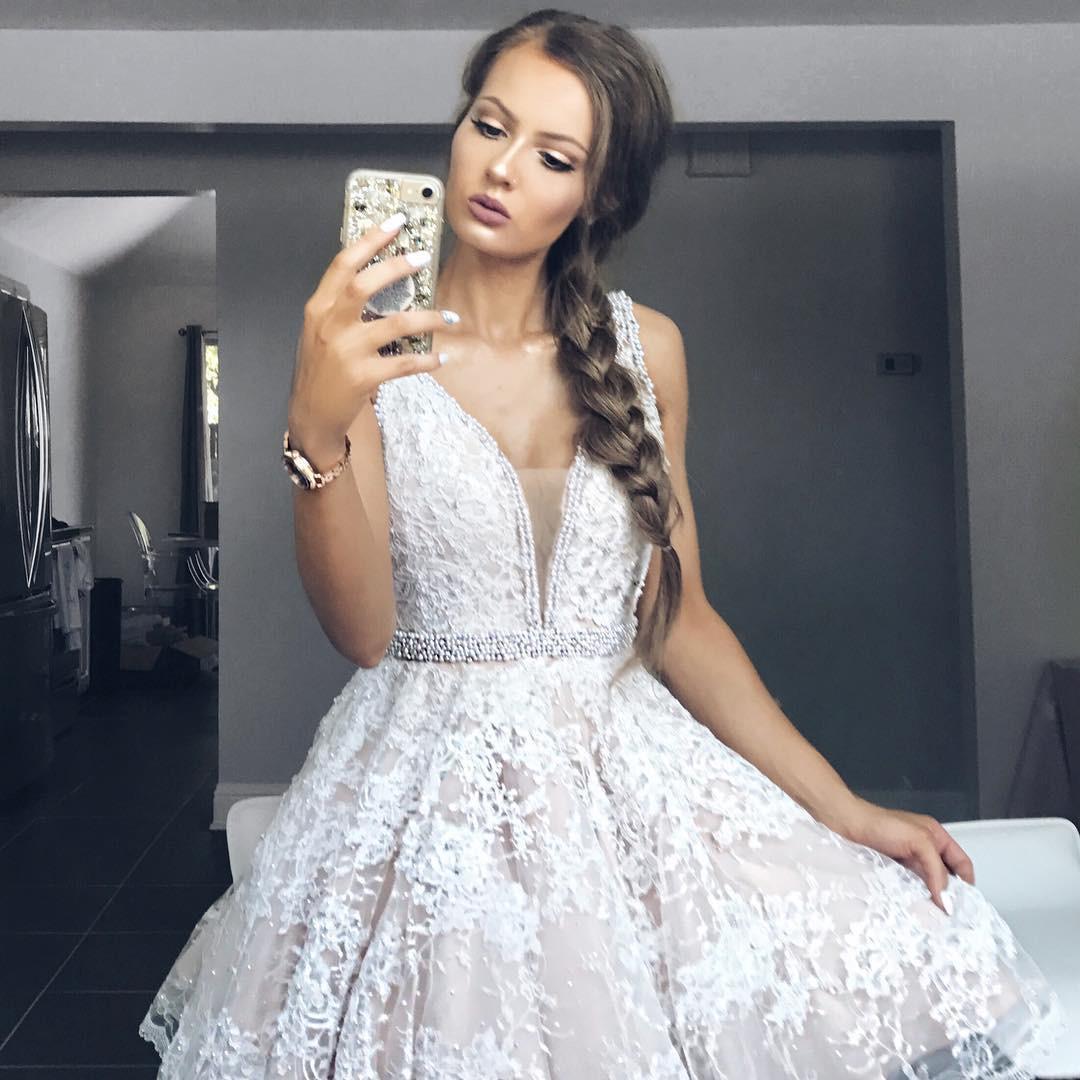 77b0d148042 Charming A-line V neck white lace short prom dress