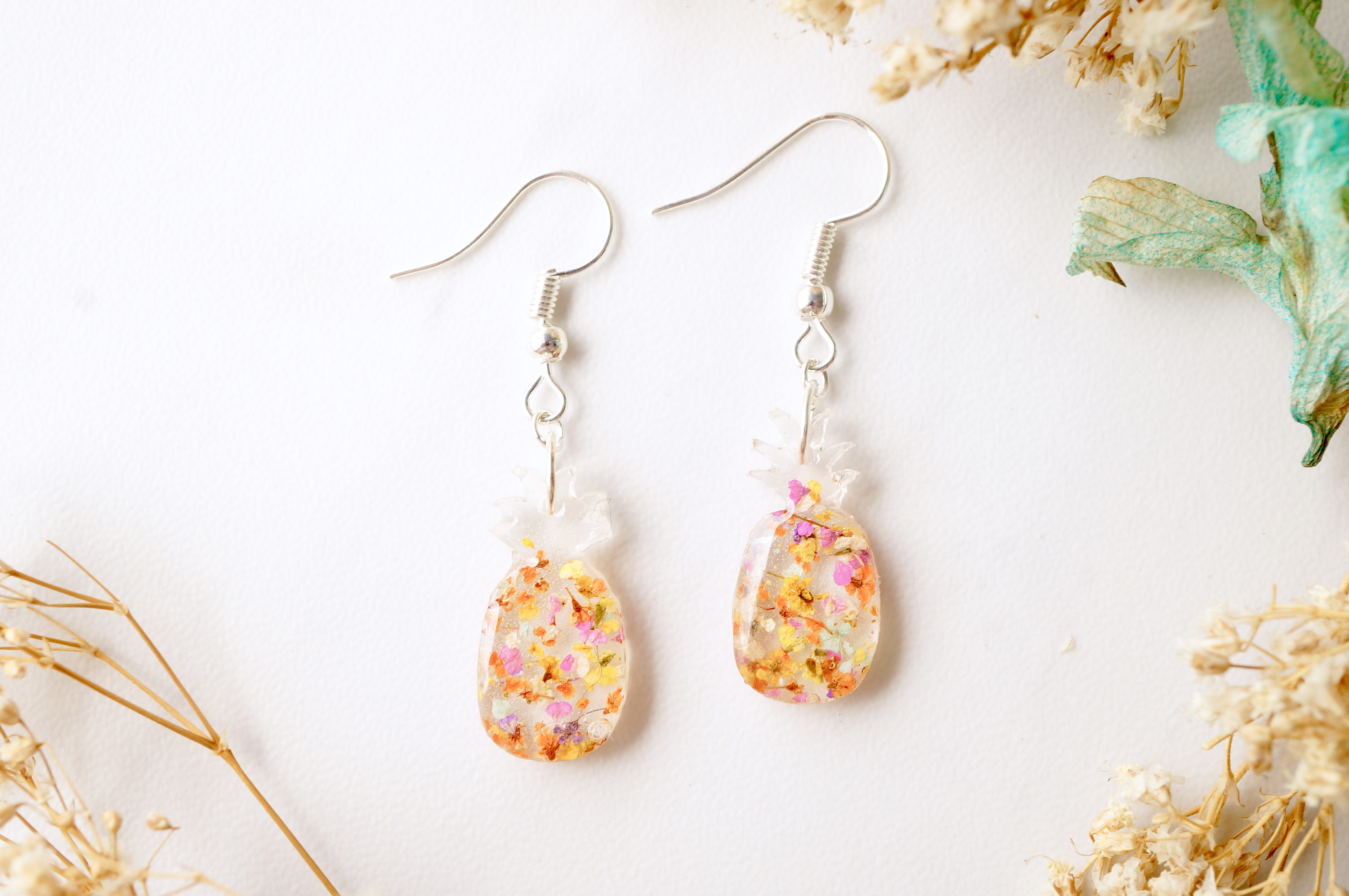 fb94a771d Real Dried Flowers and Resin Earrings, Pineapples in Yellow and ...