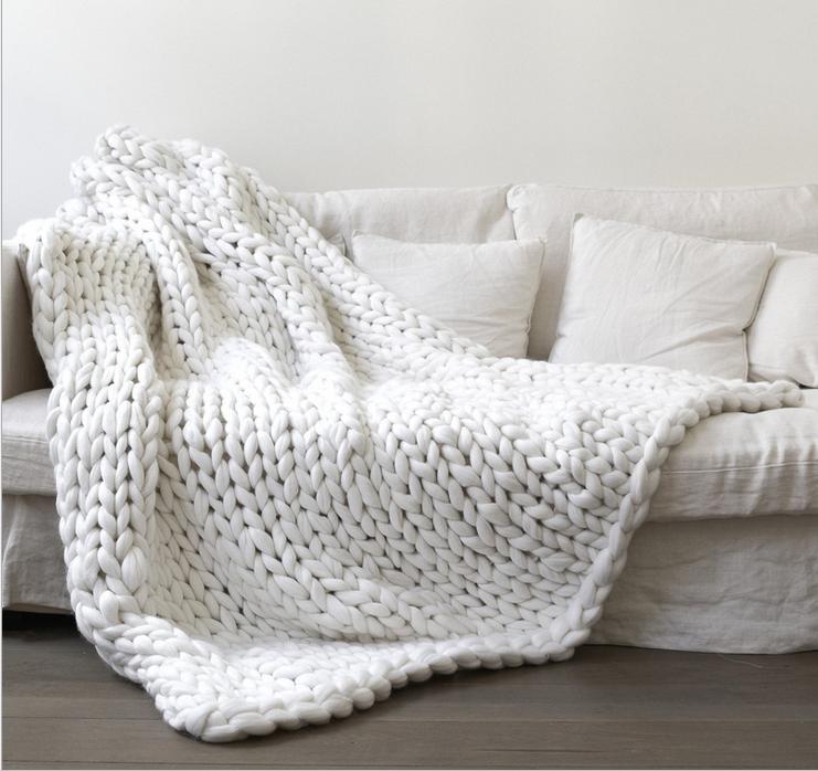 White Chunky Knit Blanket Knitted BlanketChunky BlanketKnit ThrowSuper Bulky BlanketBulky Gift