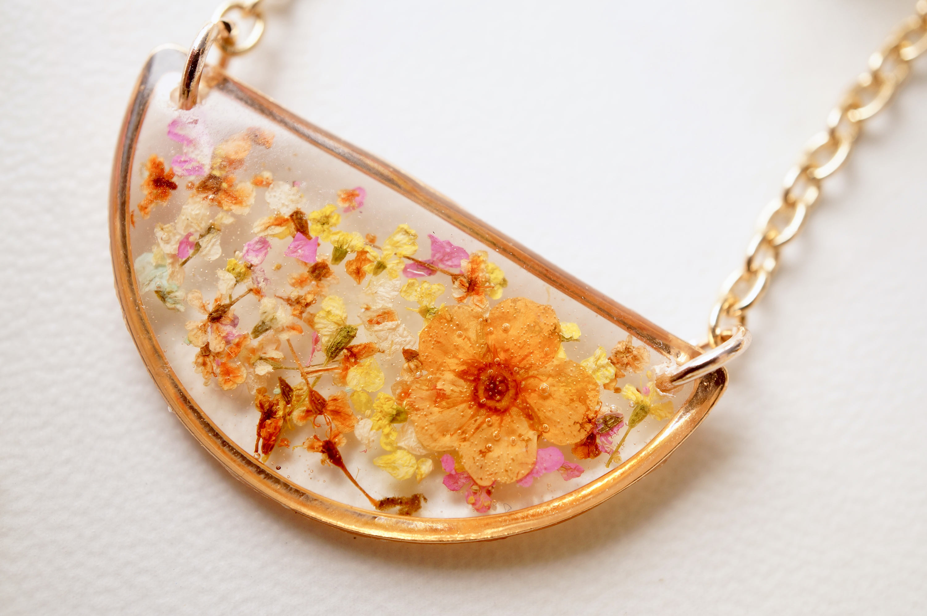 Pink Erica necklace in hemisphere from resin 38 mm