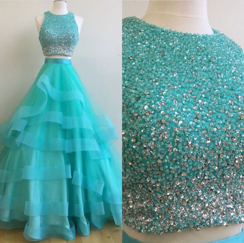 Luxurious A-line Two-piece Long Prom Gown-long Blue Two Piece Evening Dress With Beading