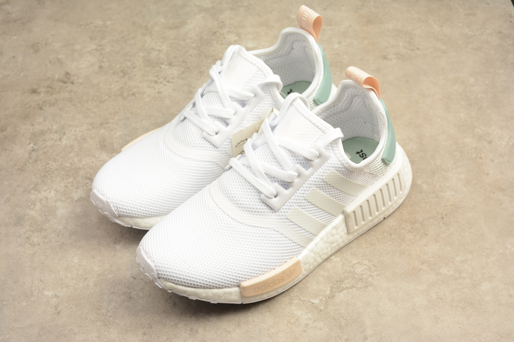 52114dea25cbd ... shopping adidas nmd r1 boost runner white mint orange shoes on storenvy  871ba d6bc6 ...