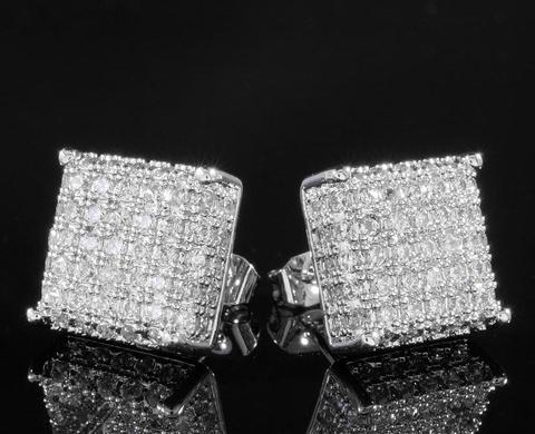 18k White Gold Iced Out Aaa Lab Diamond Micropave Square Stud Hip Hop Earring