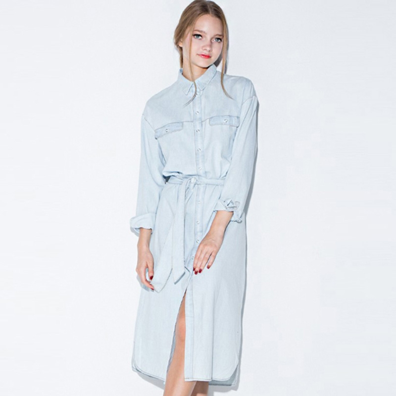 Hot New Women Retro Denim Dress Front Belt Casual Vintage Dress Women Blue Solid Midi Shirt Dress Robe Femme Vestido