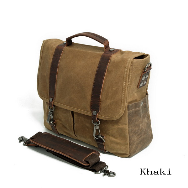 6f05eb9612 Retro waxed canvas messenger bag briefcase for men with leather trimmed - Thumbnail  1 ...