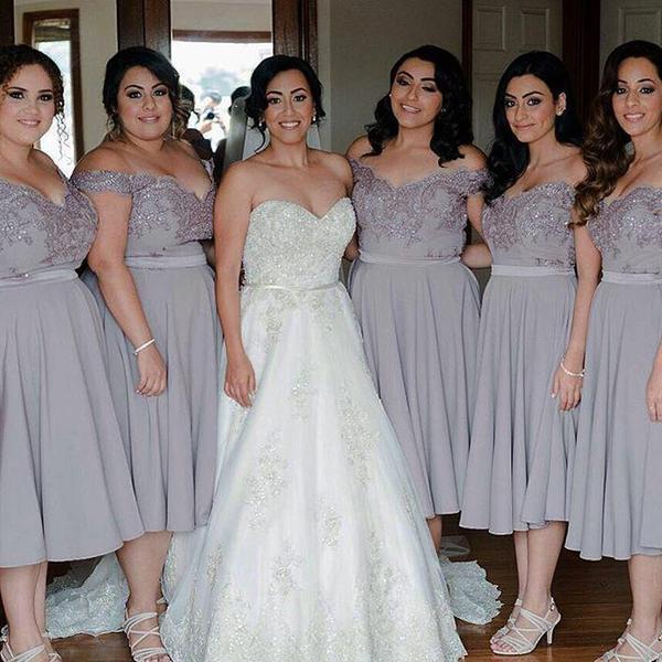 F219 Off the shoulder Short Silver Chiffon Bridesmaid Dress Wedding ...