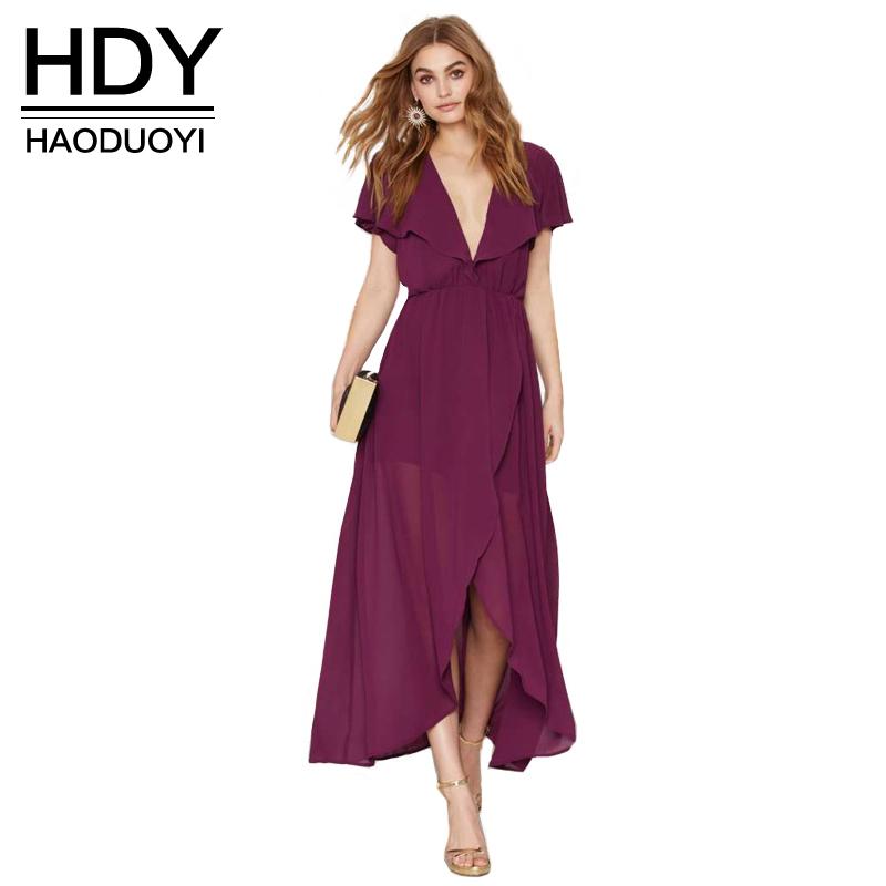 2017 New Fashion Women Ruffle Sleeve Sexy V Neck Backless Solid Elegant  Evening Party Chiffon Dress b75d32d3e278