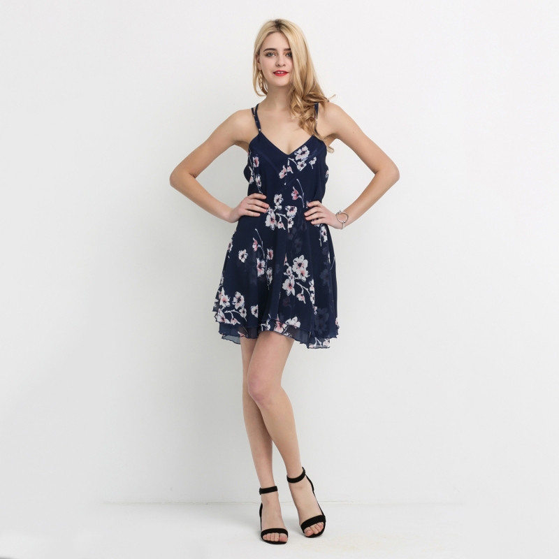 Womens Summer Sleeveless V-neck Backless Strap Sexy Party Mini Dress Floral Slim Casual Short Dresses