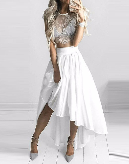 Image of 2017 White Lace Two Piece High Low Homecomig Dress,Cap Sleeve Lace Short Prom Dress