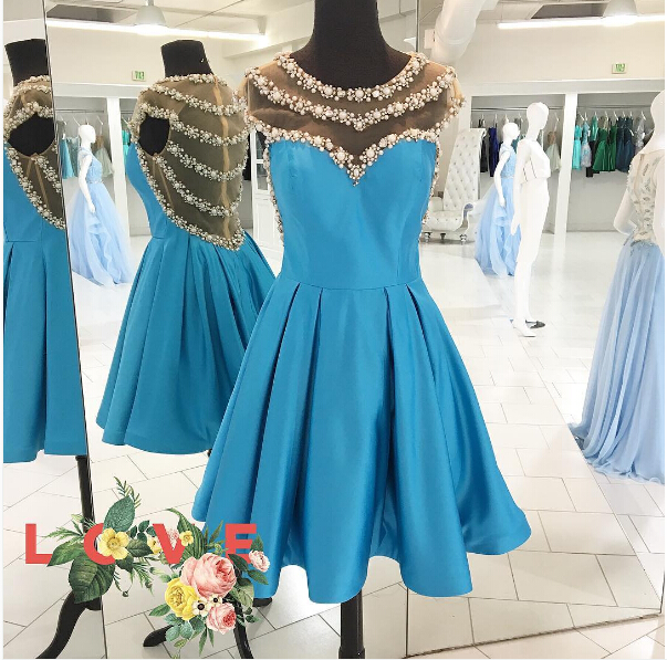Image of Adorable A-line Blue Short Homecoming Dress with Beads Back